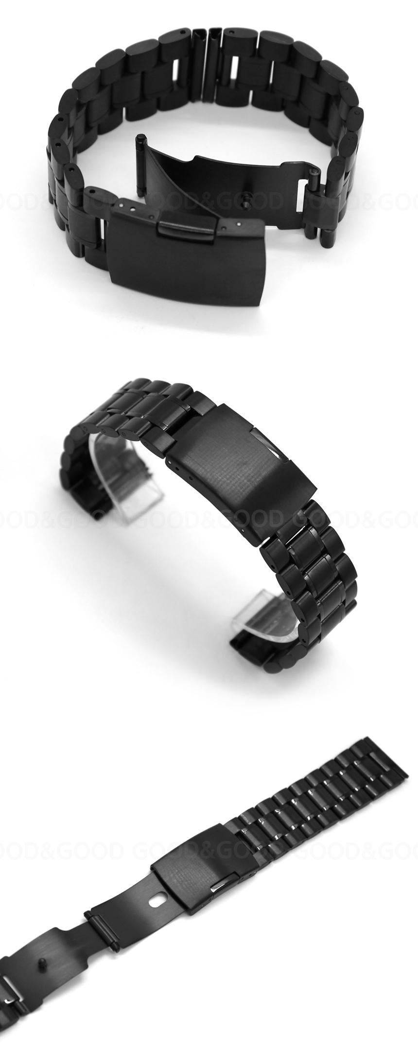 두께가 얇은 자동 버클로 손목이 덜 불편하며 양옆을 눌러 올리면 한방향으로 부드럽게 열립니다. 무광처리 된 블랙 사이에 포인트 유광이 들어있으며 무게는 가벼운 편입니다.